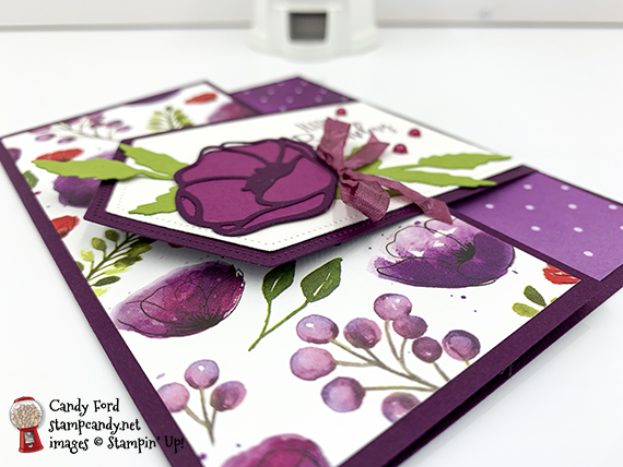 Stampin' Up! Peaceful Poppies, Painted Poppies, Poppy Moments Dies, happy birthday card by Candy Ford #stampcandy