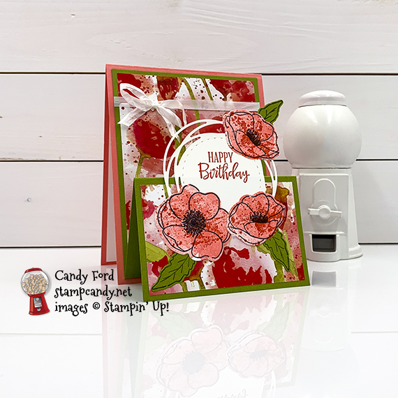 Stampin' Up! Peaceful Poppies, Painted Poppies, Peaceful Moments, Painted labels Dies happy birthday card by Candy Ford #stampcandy