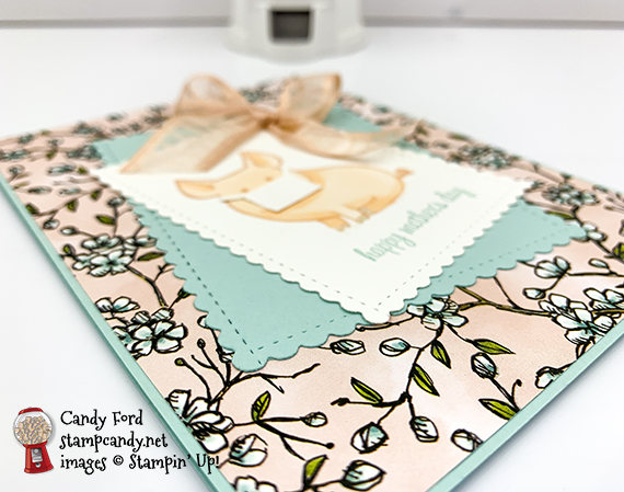 Stampin' Up! This Little Piggy, Itty Bitty Greetings, Bird Ballad, Stitched So Sweetly Dies, mother's day card by Candy Ford #stampcandy