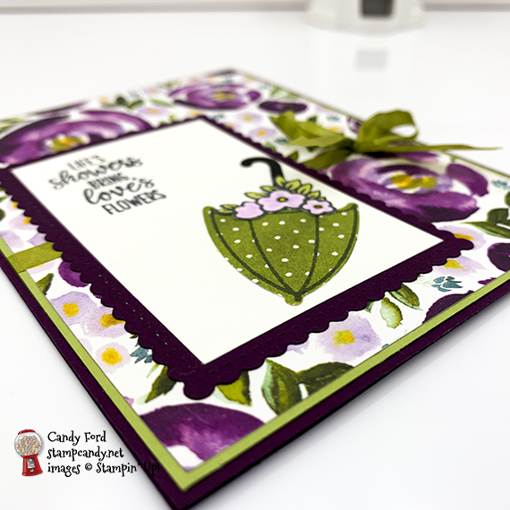 """Stampin"""" Up! under My Umbrella bundle and stamp set, Umbrella Builder Punch, card made by Candy Ford #stampcandy"""