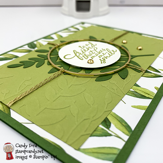 Forever Greenery Bundle, Forever Fern stamp set, Forever Flourishing Dies, Greenery Embossing Folders, Forever Greenery Designer Series Paper, Gold Hoops Embellishments, Forever Greenery Trim Combo Pack, Stampin' Up Candy Ford #stampcandy