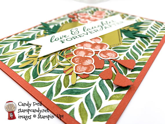 Forever Greenery Bundle, Forever Fern stamp set, Forever Flourishing Dies, Forever Greenery Designer Series Paper, Forever Gold Laser-cut Specialty Paper, Banner Triple Punch, Stampin' Up Candy Ford #stampcandy