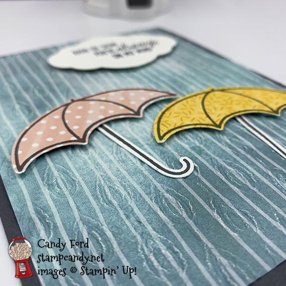 Stampin' Up! Under My Umbrella bundle (Under My Umbrella stamp set and Umbrella Builder Punch,) Beads & Baubles embossing folder, Pretty Label Punch, Candy Ford #stampcandy