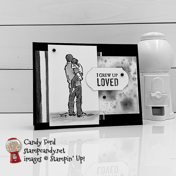 Stampin' Up! A Good Man stamp set, watercolor, black and white, It's a Guy Thing for ICS Blog Hop, card by Candy Ford #stampcandy