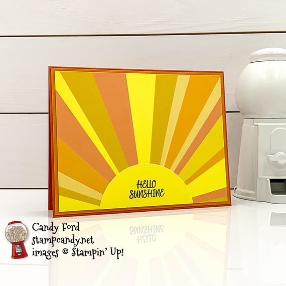 Stampin' Up! Under My Umbrella stamp set, hello sunshine card for IRBH 05-2020, Candy Ford #stampcandy #irbh