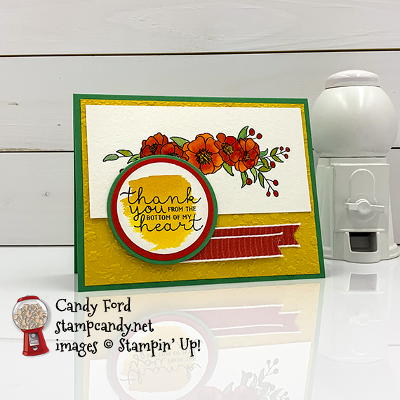 Stampin' Up! watercolor Bloom and Grow stamp set, Circle Punches, Layering Circles Dies, thank you card made by Candy Ford #stampcandy