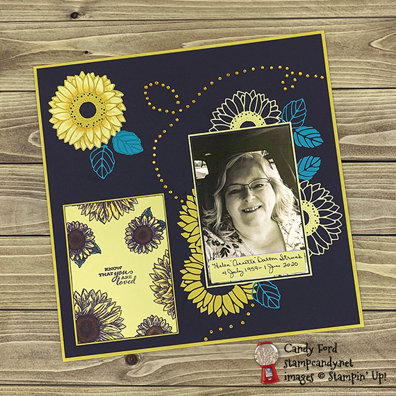 Stampin' Up! Bundle: Celebrate Sunflowers stamp set and Sunflowers Dies, Annette scrapbook page, Candy Ford #stampcandy