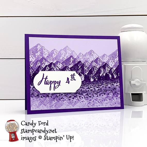 Mountain Air stamp set, Make a Difference stamp set, Timeless Label Punch, 4th of July card for IRBH 06-2020, Candy Ford #stampcandy