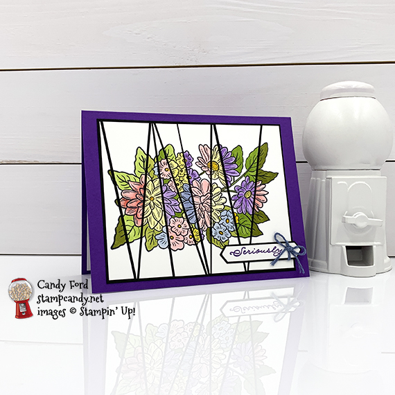Scrappy Strip Technique, Stampin' Up! Ornate Thanks and Ornate Style stamp sets, Lovely Labels Pick a Punch, thank you card by Candy Ford #stampcandy #handmadecards