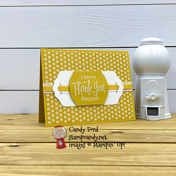 "So Sentimental stamp set, Tasteful Labels Dies, Fancy Tag Topper Punch, Flowers for Every Season Ribbon Combo Pack, Bumblebee 1/4"" Ribbon, 2020-2022 In Color Designer Series Paper DSP Bumblebee, Stampin' Up! thank you card by Candy Ford #stampcandy"
