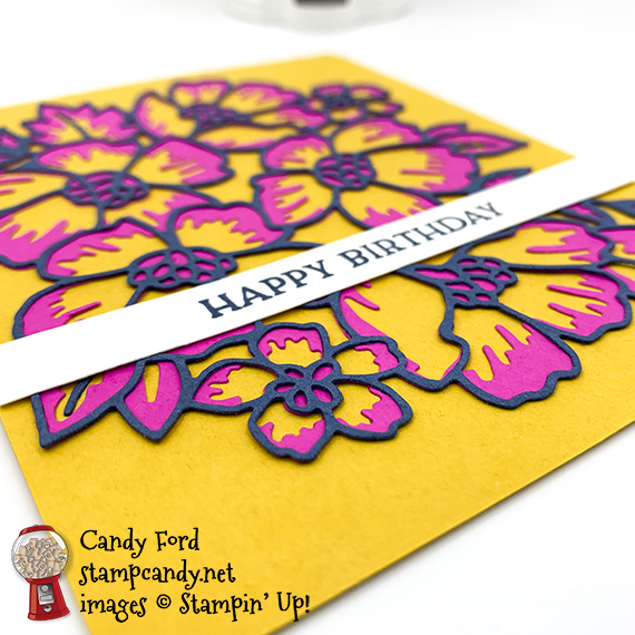 Stampin' Up Blossoms in Bloom, Happy Birthday card, Candy Ford #stampcandy