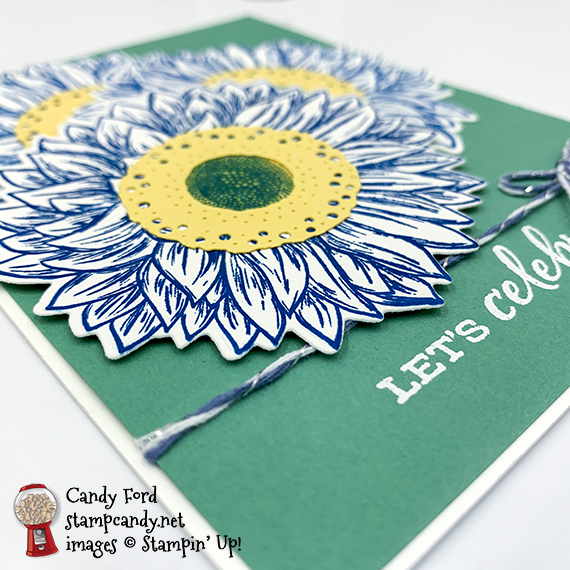 Stampin' Up Celebrate Sunflowers, let's celebrate you, Candy Ford #stampcandy
