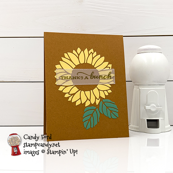 Stampin' Up Celebrate Sunflowers Bundle, Stitched Rectangle Dies, thanks a bunch card Candy Ford #stampcandy