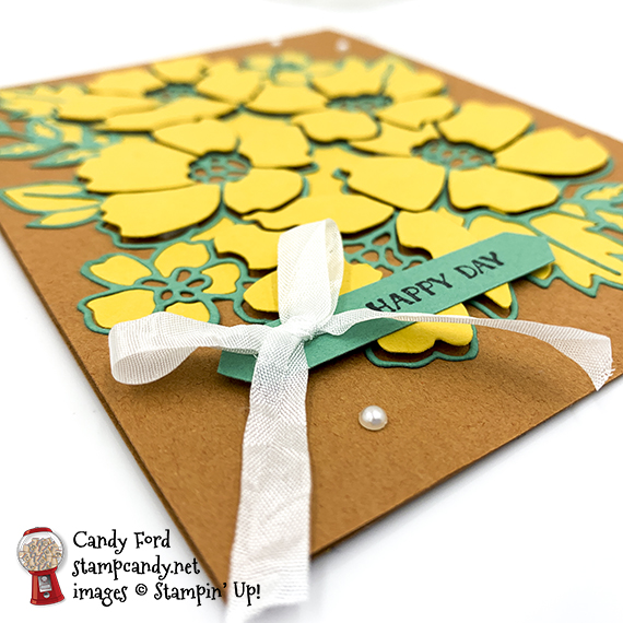 Stampin' Up! Itty Bitty Greetings stamp set, Many Layered Blossoms Dies, happy day card, Candy Ford #stampcandy