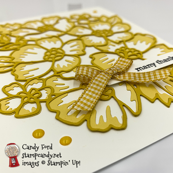 Stampin' Up! Itty Bitty Greetings stamp set, Many Layered Blossoms Dies, many thanks card, Candy Ford #stampcandy