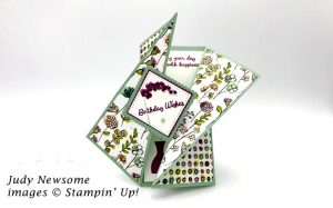 diagonal gate fold card stampin up varied vases stamp set made by Judy Newsome a Candy Heart of Stamp Candy .net