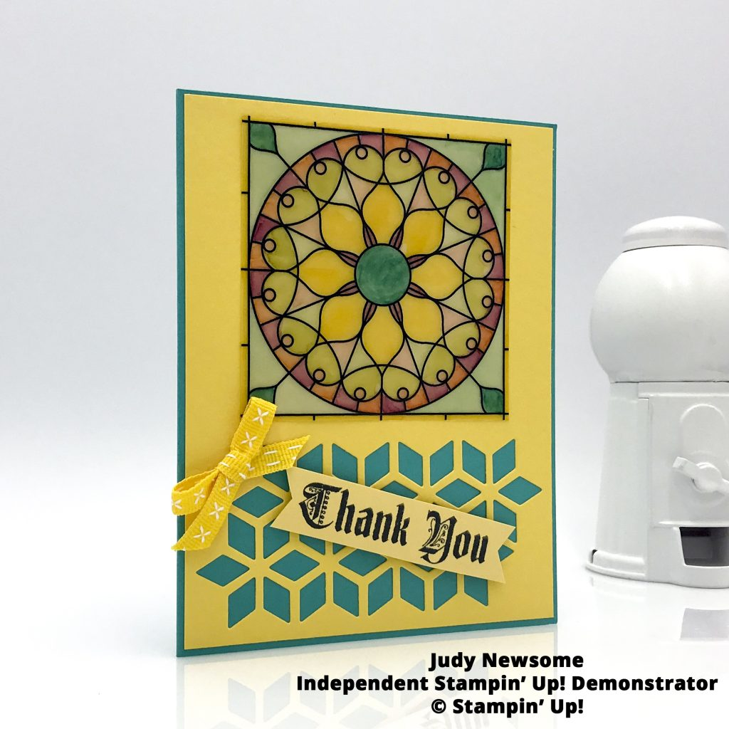Stampin Up Graceful Glass DSP and Painted Glass handmade thank you card by Judy Newsome #stampcandy