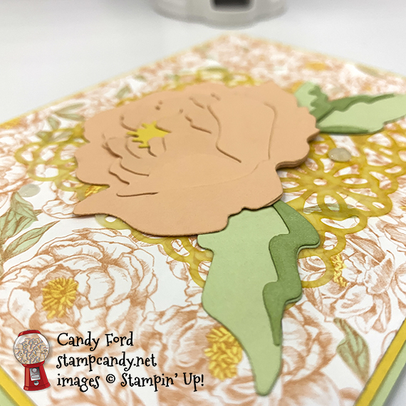 Prized Peony Bundle, Square Vellum Doilies, Peony Garden Designer Series Paper, Stampin' Blends Markers, Elegant Faceted Gems, Stampin' Up! #stampcandy