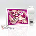 Swirly Frames stamp set, Playful Alphabet Dies, pink cardstock strips, Happy Birthday Card and tag for July 2020 OSAT Blog Hop, Candy Ford #stampcandy