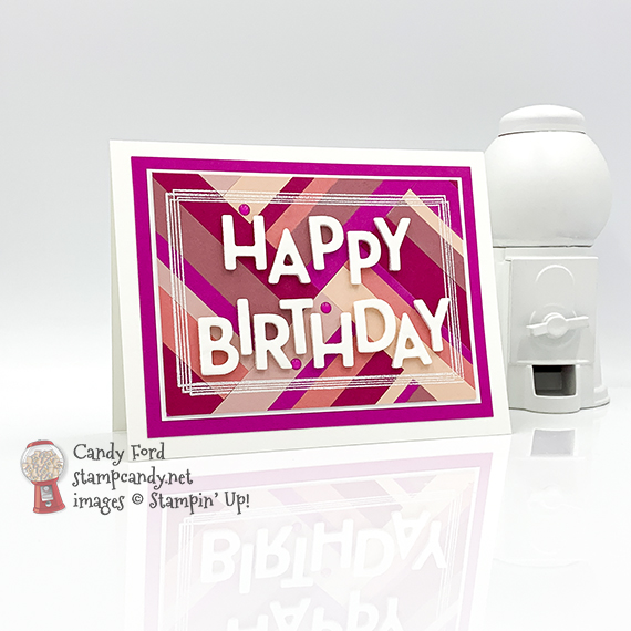Swirly Frames stamp set, Playful Alphabet Dies, pink cardstock strips, Happy Birthday Card for July 2020 OSAT Blog Hop, Candy Ford #stampcandy