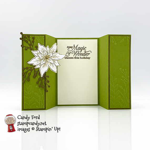 Poinsettia Petals Bundle, Poinsettia Place Designer Series Paper, Greenery Embossing Folders, double gate fold card by Candy Ford #stampcandy #stampinup #handmadecards #christmas #christmascards