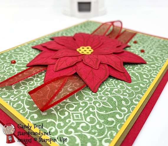 Poinsettia Petals stamp set Bundle, Poinsettia Dies, Poinsettia Place Designer Series Paper, Real Red Sheer Ribbon, Red Rhinestones, Christmas card by Candy Ford #stampcandy #stampinup #handmadecards #christmascards #holidaycards