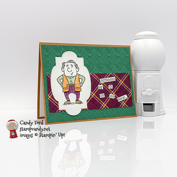 Senior Years stamp set, Stitched So Sweetly Dies, Plaid Tidings Designer Series Paper, Absolutely Argyle 3D Embossing Folder, Tiny Treat Boxes, OSAT Blog Hop 08-2020, card and box by Candy Ford #stampcandy #stampinup #handmadecards #osatbloghop