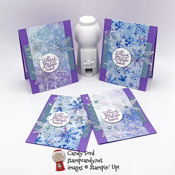 Snowflake Splendor Suite Collection thank you swap cards #stampcandy #stampinup #handadecards #thankyou $thankyoucards