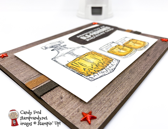Whiskey Business stamp set, Tasteful Labels Dies, masculine birthday card by Candy Ford #stampcandy #stampinup #handmadecards #birthdaycards #birthday