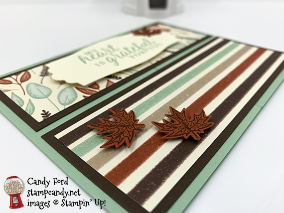 Beautiful Autumn Bundle (Beautiful Autumn stamp set and Autumn Punch Pack,) Snow Time Dies, Gilded Autumn Designer Series Paper, gate fold, fun fold, fancy fold #stampcandy #stampinup #handmadecards