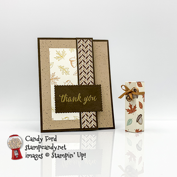Beautiful Autumn stamp set bundle, Autumn Punch Pack, Gilded Autumn Suite Collection, fun fold card and lip balm holder #stampcandy #stampinup #handmadecards