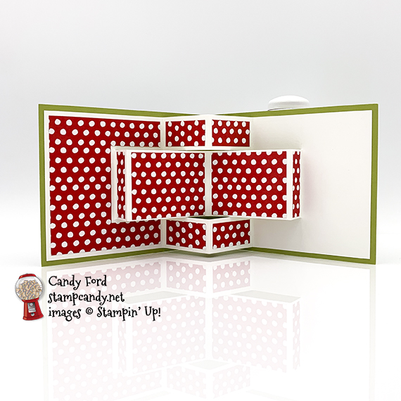 Trimming the Town 3D Pup Up Card #stampcandy #funfolds #fancyfolds #handmadecards #stampinup