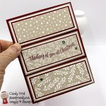 Fancy Gate Fold Christmas Card made with the Curvy Christmas stamp set, Classic Christmas Designer Series Paper, Holiday Rhinestone Basic Jewels #stampcandy
