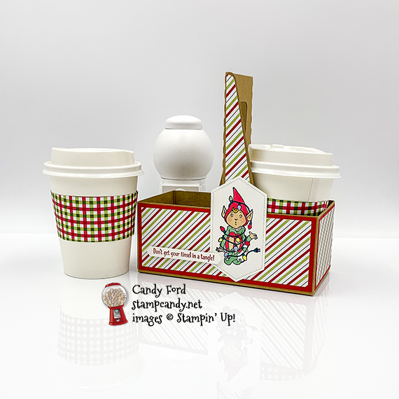 Don't Stop Believin' stamp set, Stitched Nested Labels Dies, Mini Coffee Cups, Mini Coffee Holder, Heartwarming Hugs Designer Series Paper #stampcandy