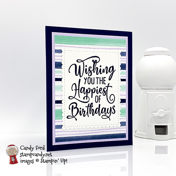 Make this Pop-Up Birthday Card with the Happiest of Birthday stamp set, Pattern Play stamp set, and Playing with Patterns Designer Series Paper #stampcandy #stampinup #handmadecards #birthdaycards