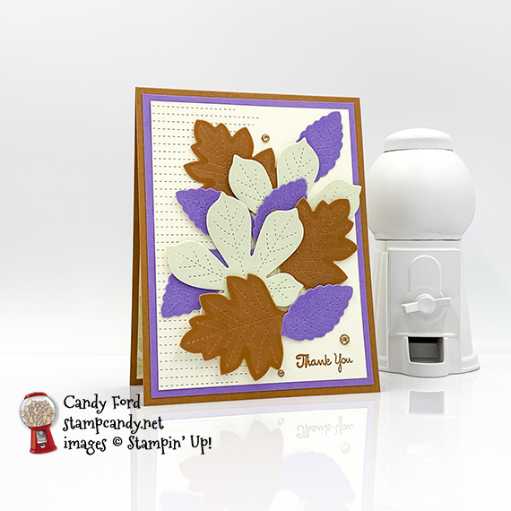 Autumnal thank you card made with the Love of Leaves stamp set, Stitched Leaves Dies, Stitched So Sweetly Dies, Color Velveteen Paper Pack, Champagne Rhinestone Basic Jewels #stampcandy
