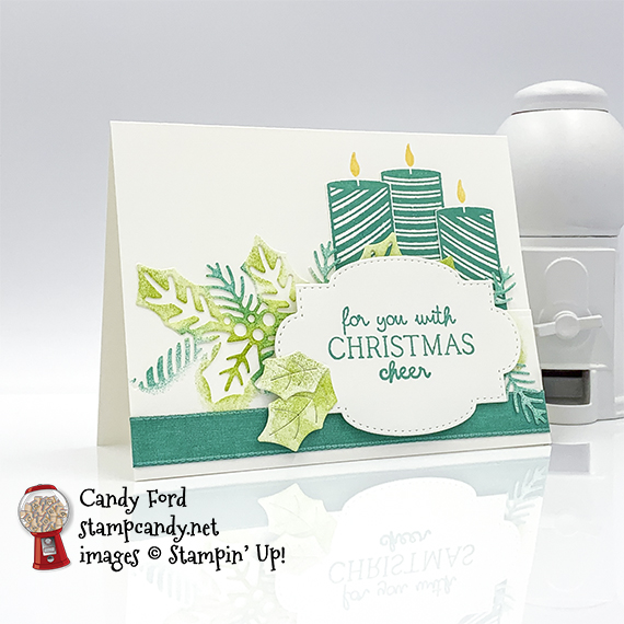 Sweetest Time stamp set, Sweetest Borders Dies, Stitched So Sweetly Dies, sponge daubers, Christmas holiday card #stampcandy #handmadecards #christmascards #holidaycards #stampinup