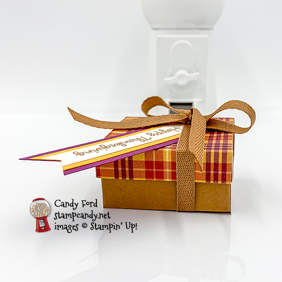 Banner Year Stamp Set, Lovely Labels Pick a Punch, Paid Tidings Designer Series Paper, Cinnamon Cider Ribbon
