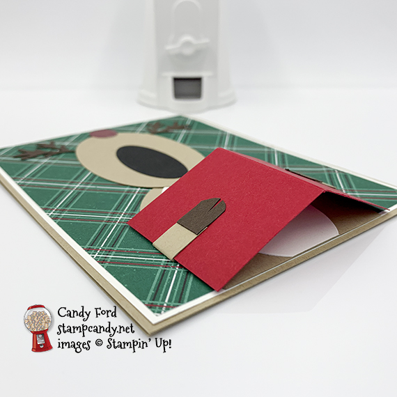 Singing Reindeer Card made with the 'Tis the Season DSP, Layering Ovals Dies, and Peek-a-Hoot Dies from Stampin' Up! #stampcandy