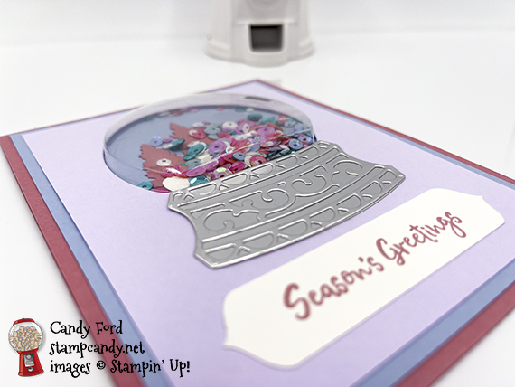 In the Pines Season's Greetings Shaker Dome card #stampcandy