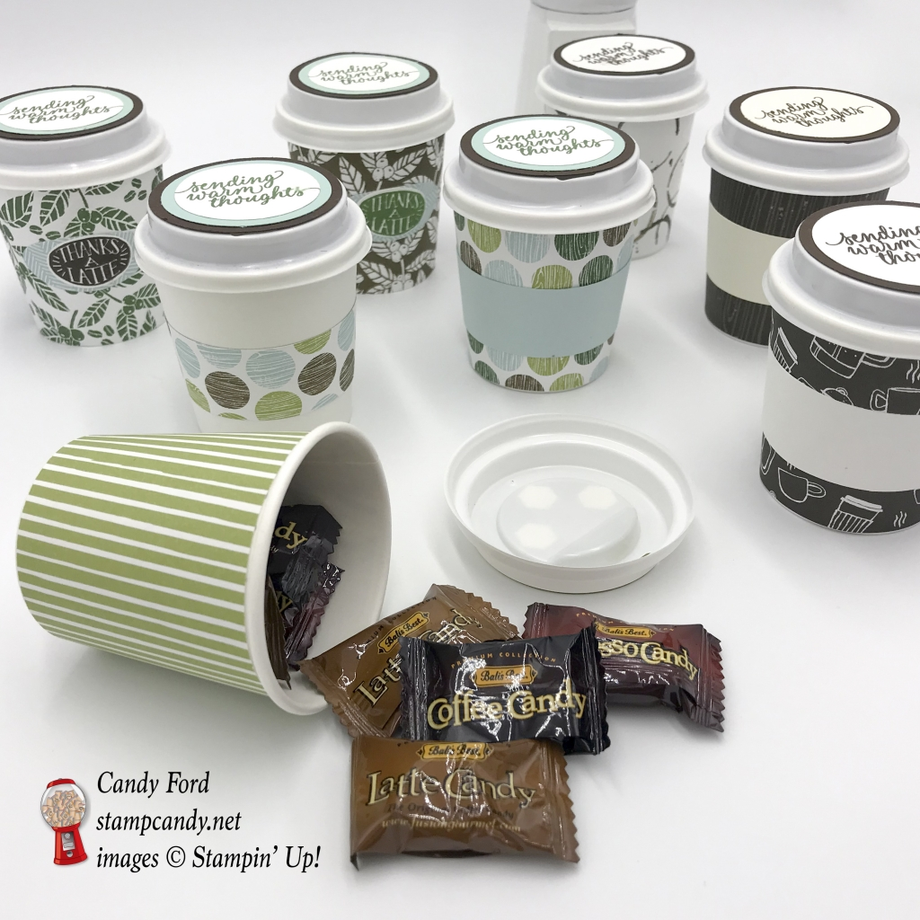 Espresso to go cups decorated with Coffee Break DSP and the Coffee Cafe stamp set by Stampin' Up! #stampcandy