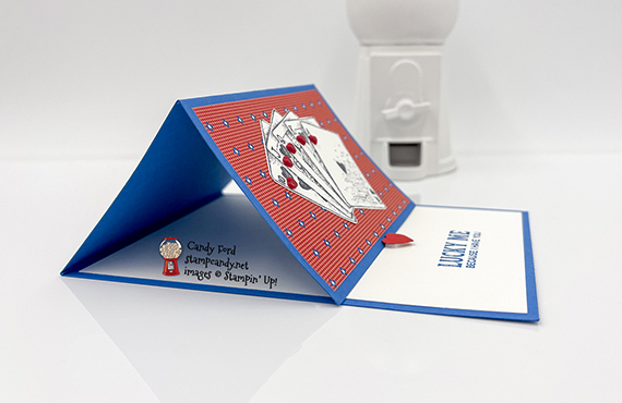 Lucky Me easel card, Game On stamp set, Well Suited Designer Series Paper, Resin Hearts #stampcandy