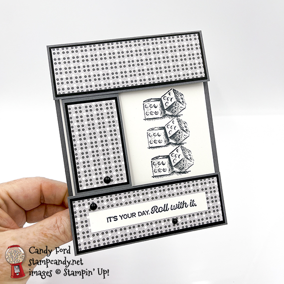 it's your birthday card roll with it, Game On stamp set, Well Suited Designer Series Paper, Matte Black Dots #stampcandy #handmadecards