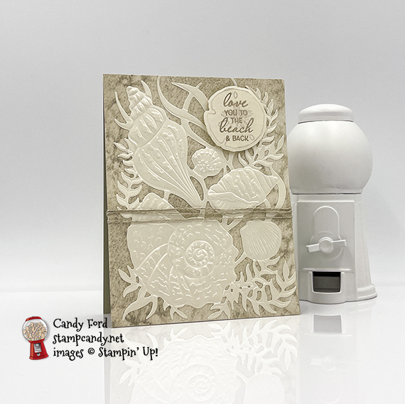 Sand & Sea Suite, Pearlescent Seashells card #stampcandy