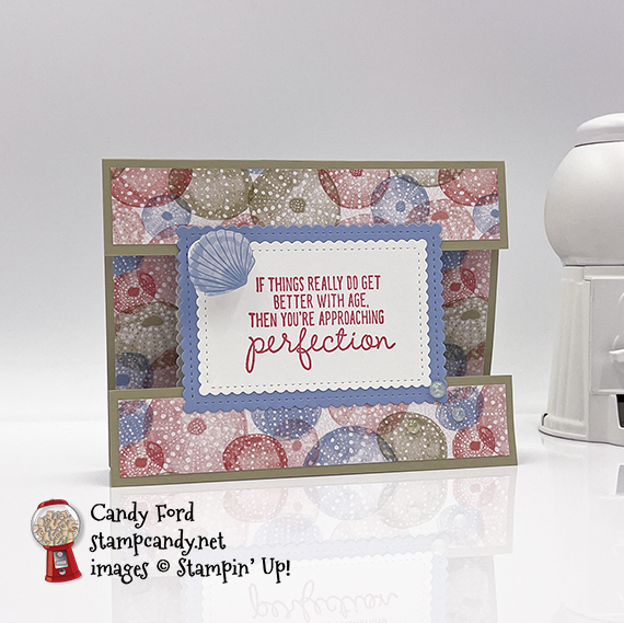 Approaching Perfection Sand & Seashells birthday card #stampcandy