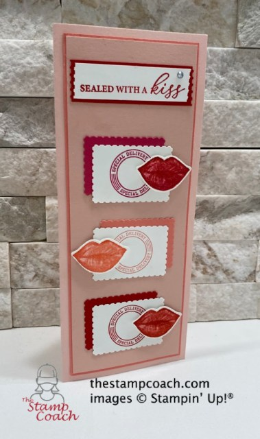 Sealed with a Kiss card by Linda Krueger https://thestampcoach.com/sealed-with-a-kiss-slimline-card/