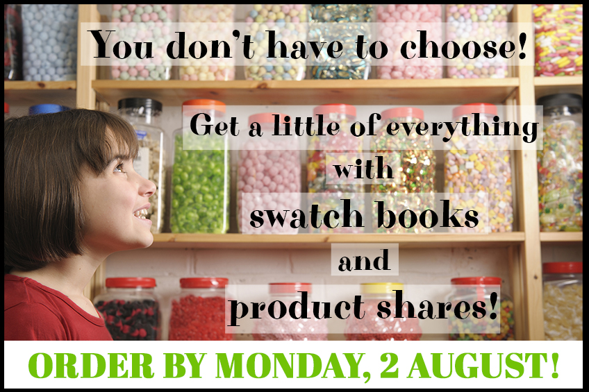 July-December 2021 Mini Catalog Swatch Books and Product Shares